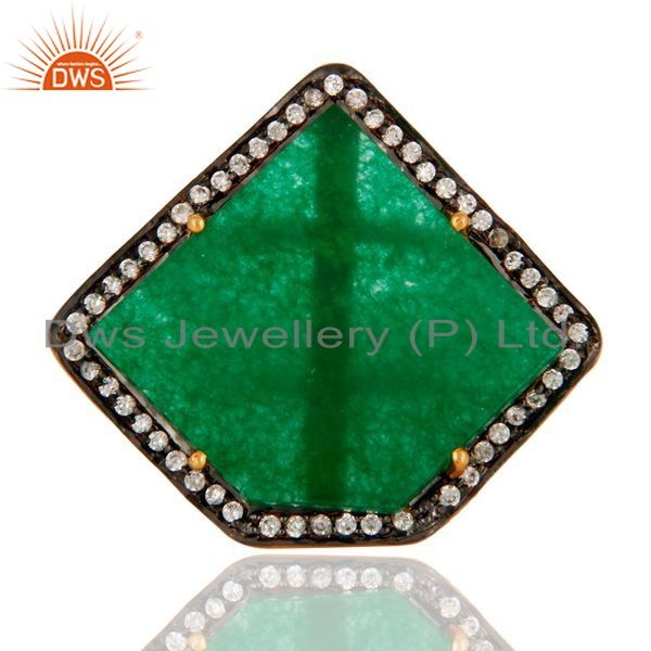 Exporter 18K Gold Plated 925 Sterling Silver Green Onyx Gemstone Slice Prong Setting Ring
