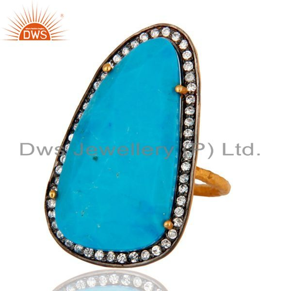 Exporter Turquoise & Zircon 22K Yellow Gold Plated Sterling Silver Gemstone Fashion Ring