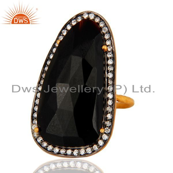 Exporter Beautiful Black Onyx & Cubic Zirconia 18K Gold Plated Sterling Silver Stone Ring