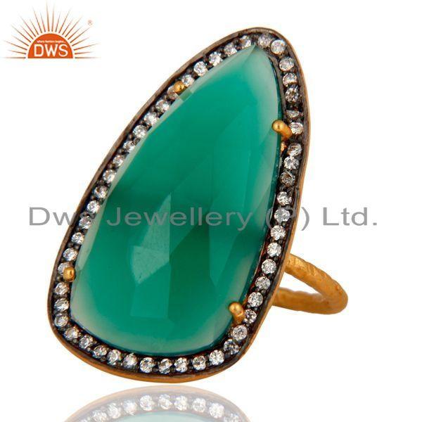 Exporter Handmade 925 Sterling Silver Real Green Onyx Gemstone Ring Gold Plated Jewelry