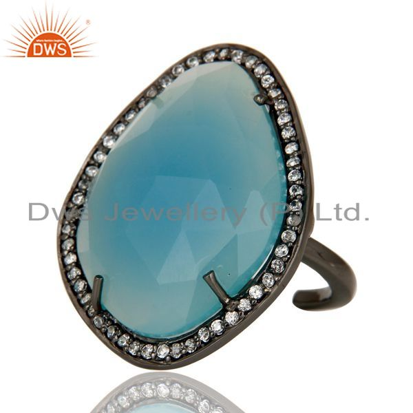 Exporter Blue Chalcedony Handcrafted Sterling Silver With Black Oxidized Open Ring