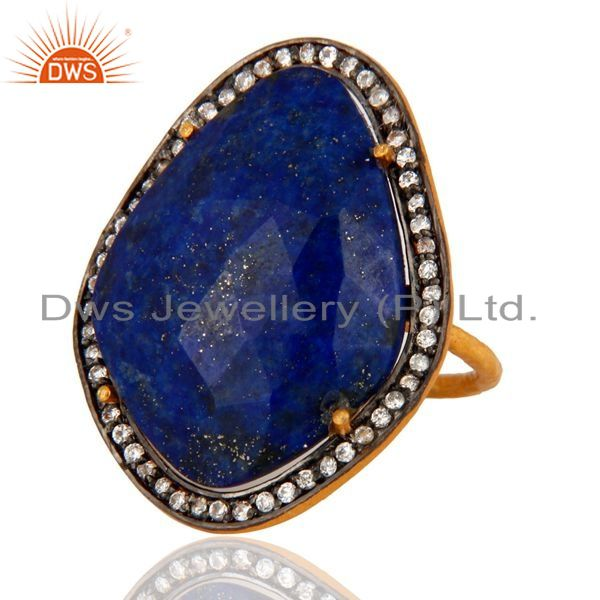 Exporter Natural Lapis Lazuli Gemstone Handcrafted Sterling Silver With Gold Plated Ring