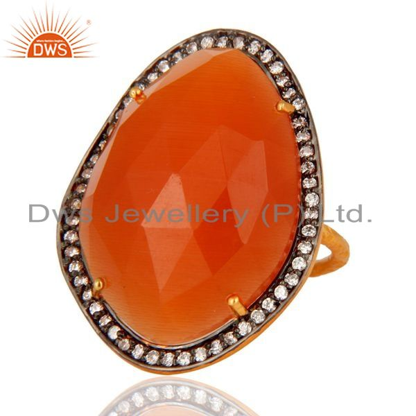 Exporter Designer Peach Moonstone Handmade Solid Sterling Silver Yellow Gold Plated Ring