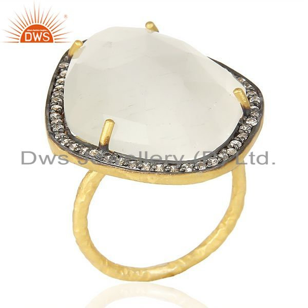 Exporter White Moonstone CZ Statement 14K Gold Plated 925 Sterling Silver Ring Jewelry
