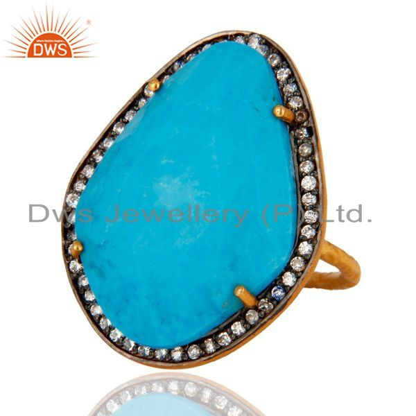 Exporter Designer Matrix Turquoise Gemstone 24K Yellow Gold Plated Sterling Silver Ring