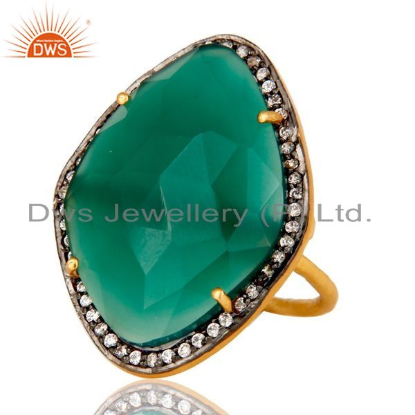 Exporter Natural Faceted Green Onyx Gemstone & CZ Sterling Silver Ring With Gold Plated