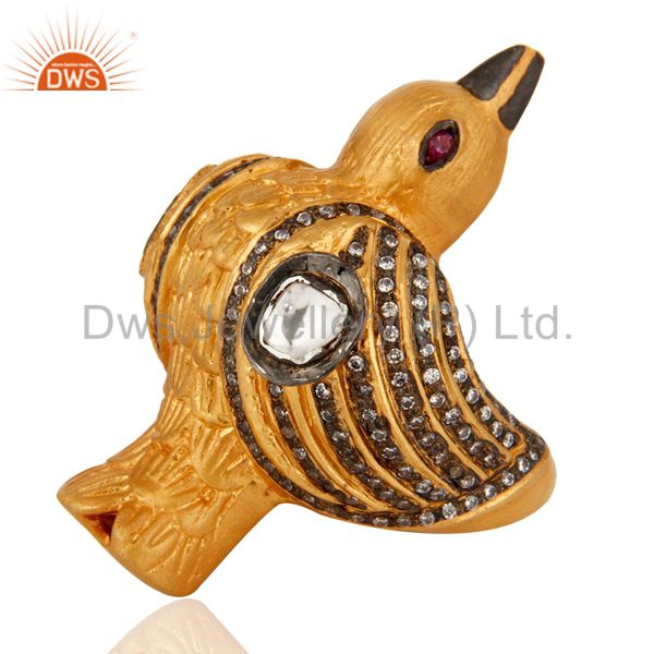 Exporter Yellow Gold Plated Sterling Silver White Zircon Bird Design Fashion Wedding Ring