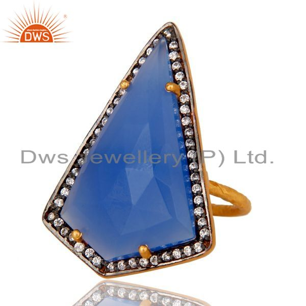 Exporter 14K Yellow Gold Plated Sterling Silver Blue Chalcedony Solitaire Ring With CZ