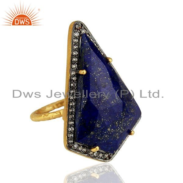 Exporter CZ & Lapis Gemstone Gold Plated 925 Silver Womens Ring Supplier