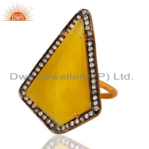 Exporter CZ & Faceted Yellow Moonstone 18K Gold Plated Sterling Silver Designer Ring