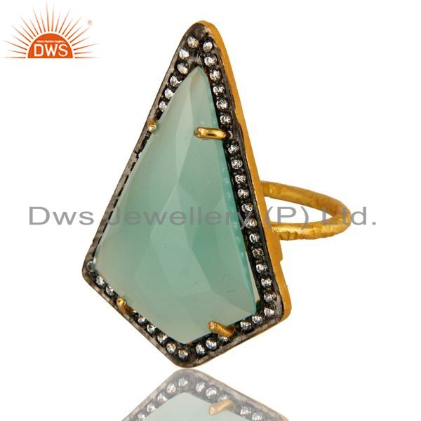 Exporter Prong Set Aqua Blue Glass Gemstone & CZ Gold Plated Sterling Silver Ring