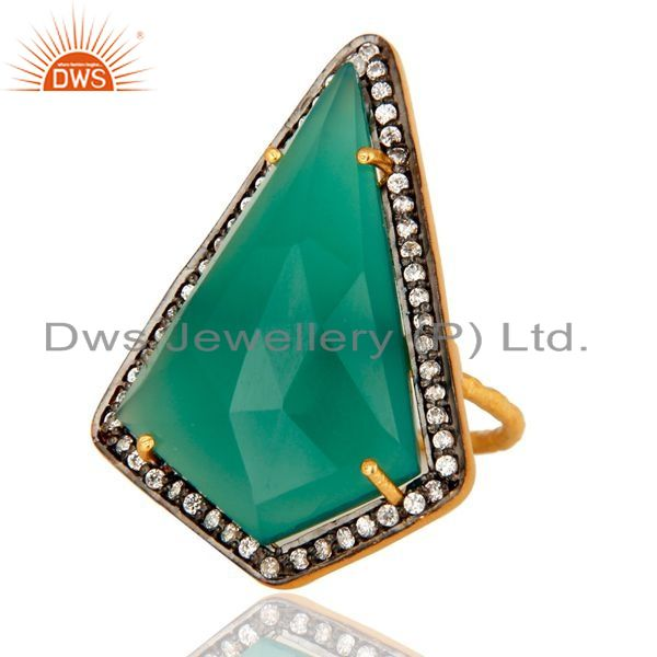 Exporter Handmade Green Onyx & Cubic Zirconia Gold Plated Sterling Silver Solitaire Ring