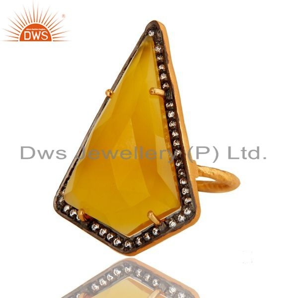 Exporter Yellow Chalcedony And CZ Fashion Ring In 18K Yellow Gold Over Sterling Silver