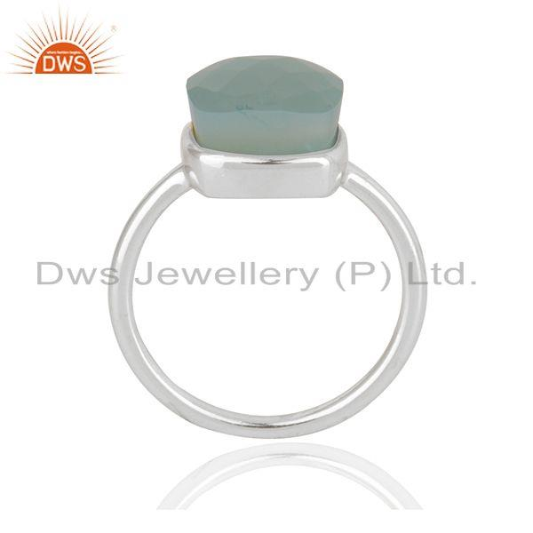 Exporter Aqua Chalcedony Gemstone Fine Sterling Silver Ring Manufacturer in India