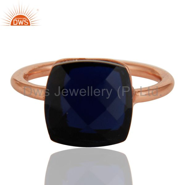 Exporter 18K Rose Gold Plated Sterling Silver Sapphire Blue Corundum Stackable Ring