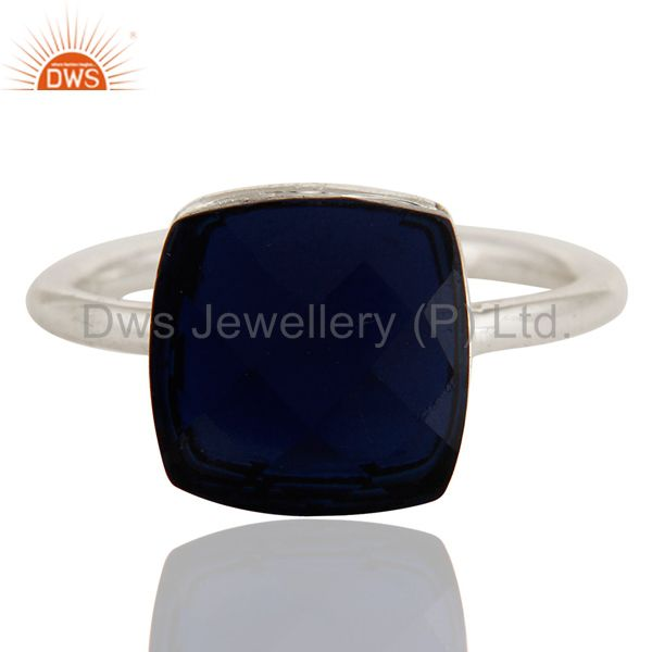 Exporter 925 Sterling Silver Sapphire Blue Corundum Stacking Ring Size 5