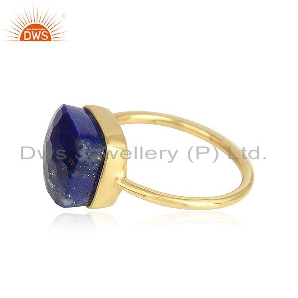 Handmade 18k yellow gold plated 925 silver lapis lazuli gemstone rings