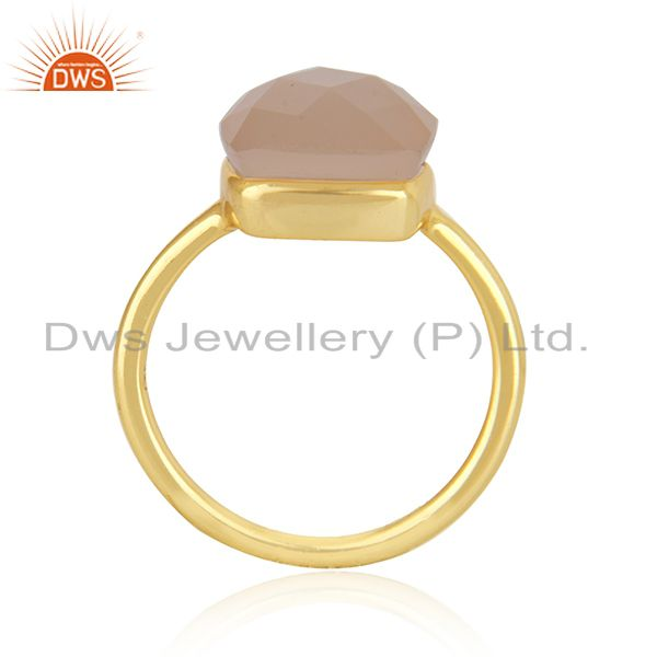 Exporter 14K Yellow Gold Plated Sterling Silver Rose Chalcedony Bezel Set Stack Ring
