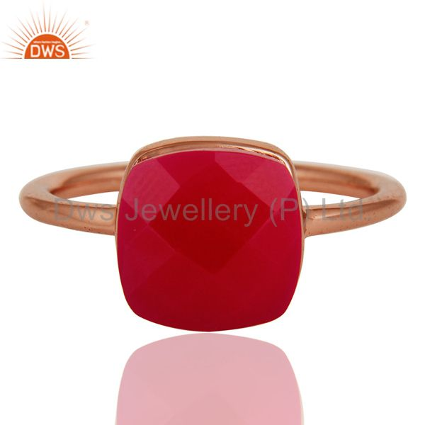 Exporter Faceted Pink Chalcedony Sterling Silver Bezel-Set Ring - Rose Gold Plated