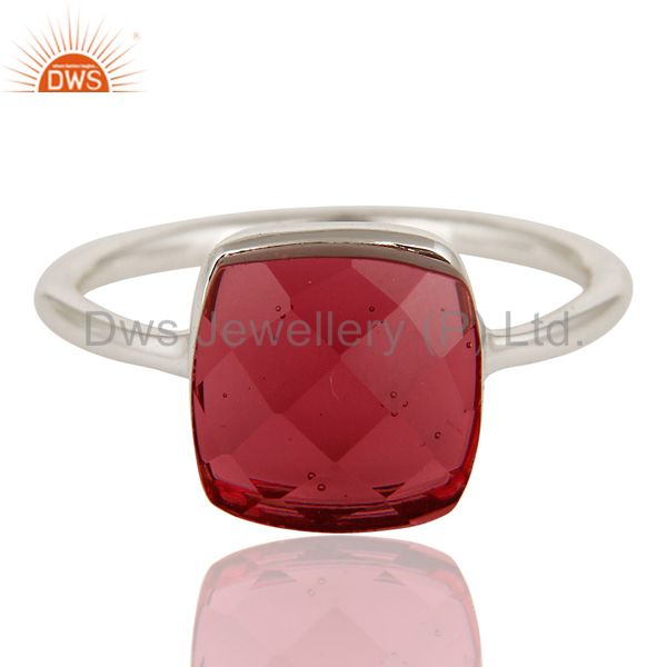 Exporter Faceted Pink Glass 925 Sterling Silver Bezel Set Ring