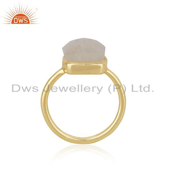 Exporter Rainbow Moonstone Gold Plated 925 Sterling Silver Girls Ring Wholesale
