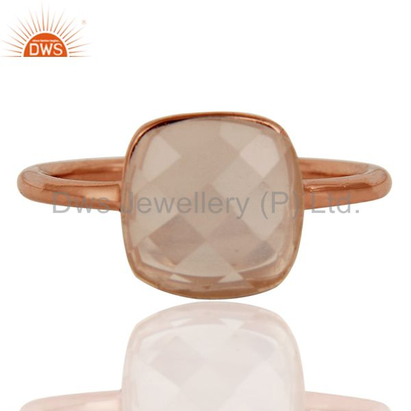 Exporter Faceted Rose Quartz Gemstone Sterling Silver Stacking Ring With Rose Gold Plated