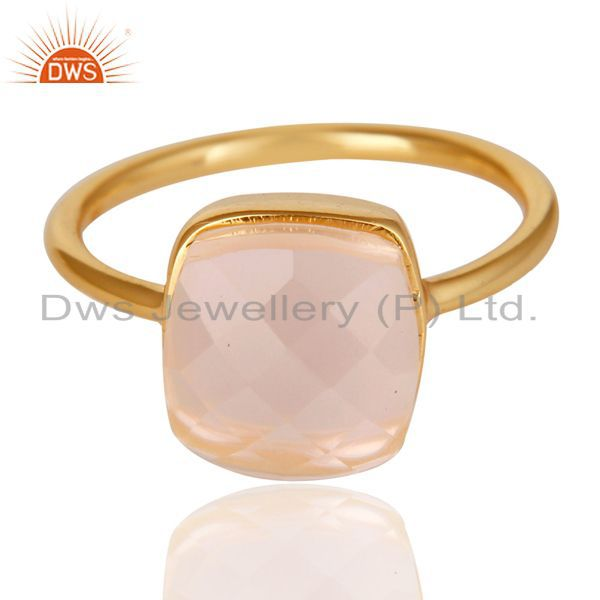 Exporter 14K Yellow Gold Plated 925 Sterling Silver Handmade Rose Quartz Statement Ring