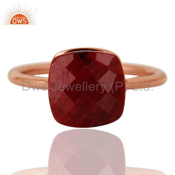 Exporter Faceted Ruby Corundum Bezel-Set Sterling Silver Ring - Rose Gold Plated