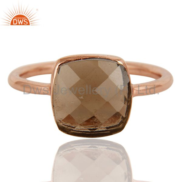 Exporter Natural Smoky Quartz Checker Broad Sterling Silver Bezel Ring - Rose Gold Plated