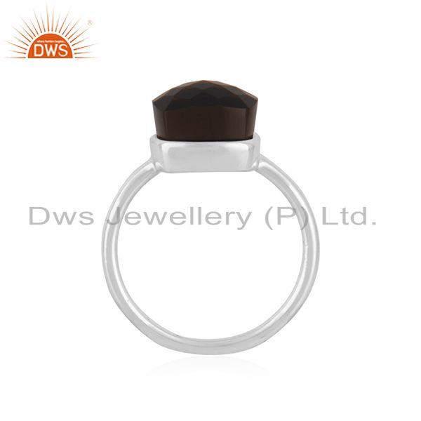 Exporter Smoky Quartz Gemstone Fine Sterling Silver Handmade Ring Manufacturers INdia