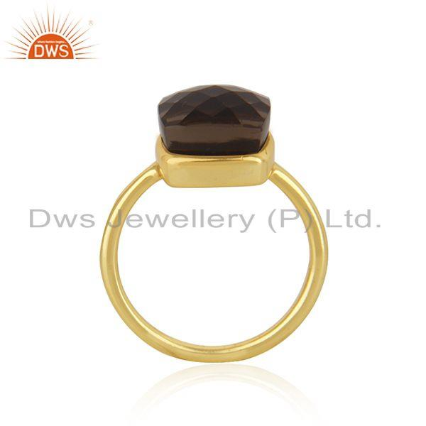 Exporter 22K Gold Plated 925 Sterling Silver Checkered Smokey Topaz Statement Ring