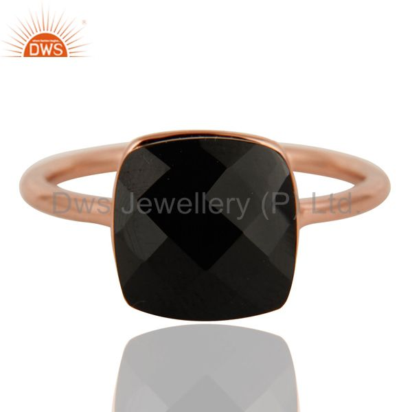 Exporter 18K Rose Gold Plated Sterling Silver Checkered Broad Black Onyx Stack Ring