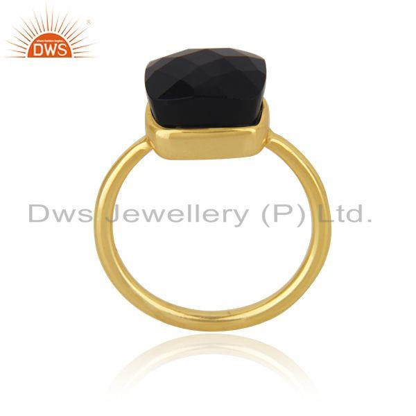 Exporter Black Onyx Gemstone Gold Plated 925 Silver Handmade Ring Manufacturer India