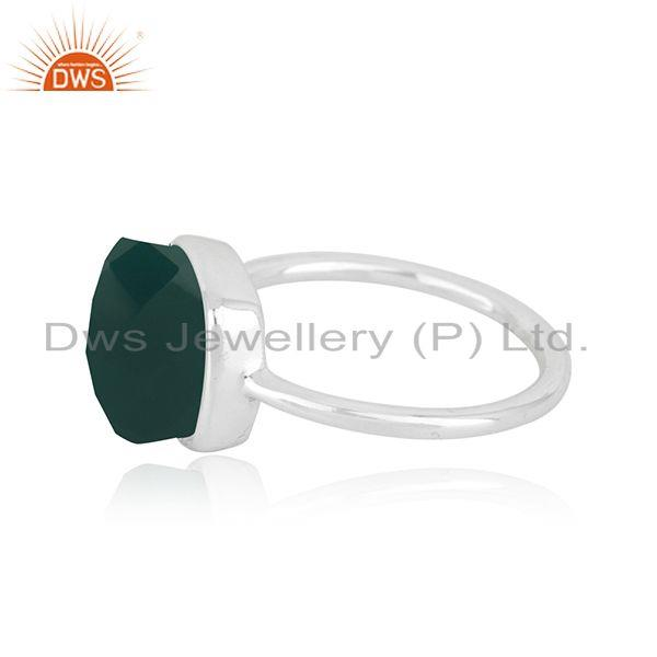 Exporter Handmade 925 Sterling Fine Silver Green Onyx Gemstone Ring Manufacturer in India