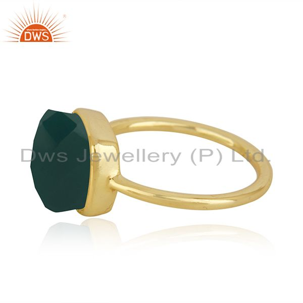 Exporter Gold Plated Sterling Silver Faceted Green Onyx Gemstone Bezel Set Handmade Ring
