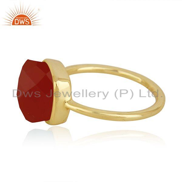 Exporter Red Onyx Gemstone Gold Plated 925 Silver Red Onyx Gemstone Ring Wholesale