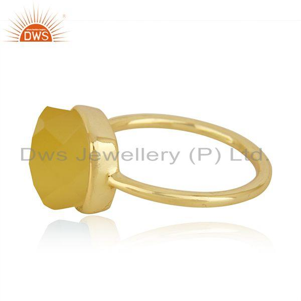 Exporter Yellow Chalcedony Gemstone Gold Plated 925 Silver Ring Manufacturer in India