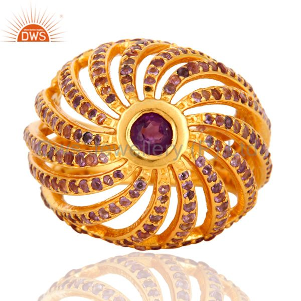 Exporter Amethyst Halo Gemstone Cocktail Ring In 18K Yellow Gold Over Sterling Silver