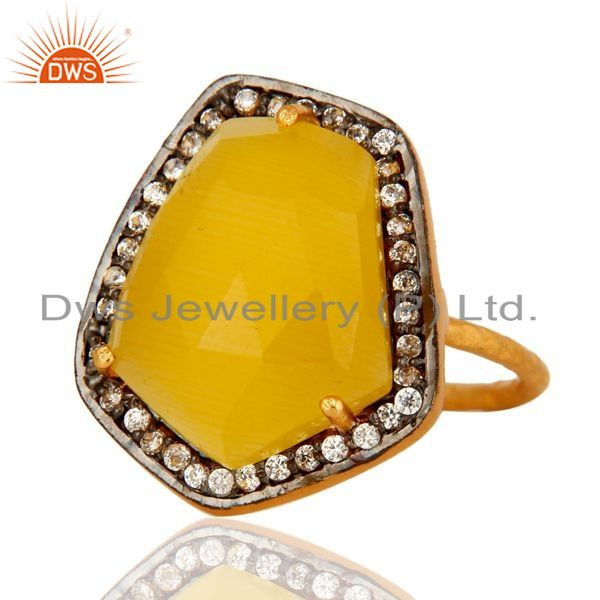 Exporter Faceted Yellow Moonstone Sterling Silver Stackable Ring With CZ - Gold Plated