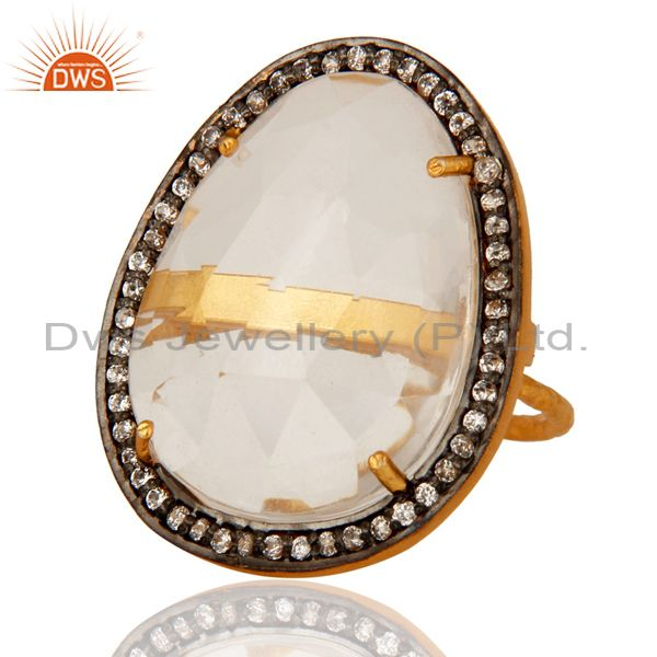Exporter 925 Sterling Silver Prong-Set Crystal Quartz Ring - Yellow Gold Plated