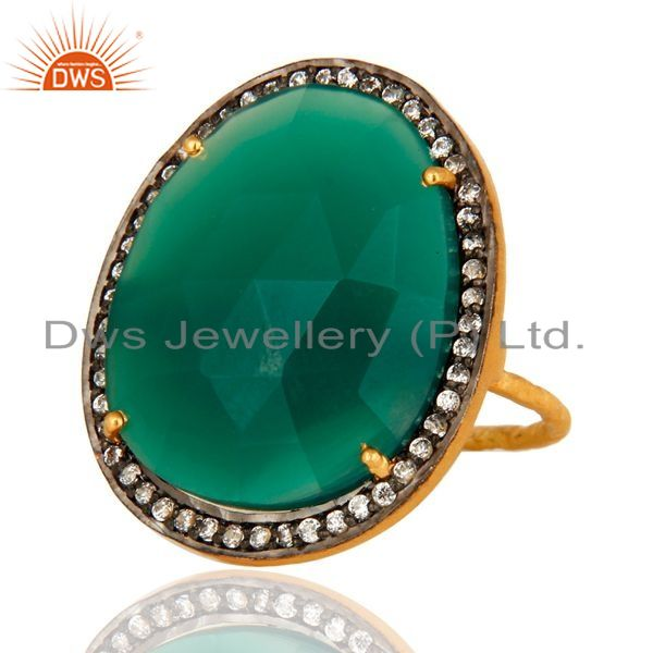 Exporter Prong-Set Faceted Green Onyx And CZ Ring In 18K Gold Over Sterling Silver