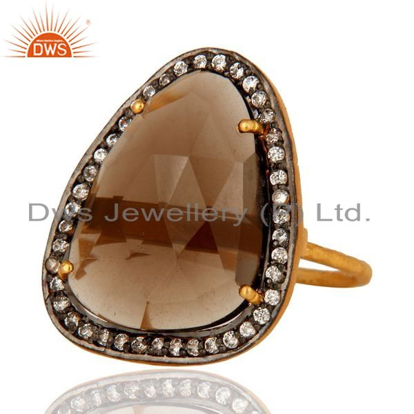 Exporter Natural Smoky Quartz Sterling Silver Prong Set Ring With CZ - Gold Plated