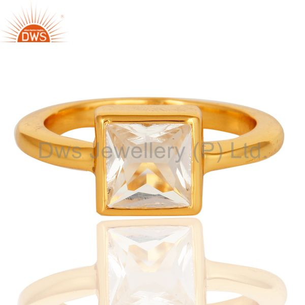 Exporter Square Princess Cut Crystal Quartz 14K Yellow Gold Plated Sterling Silver Ring