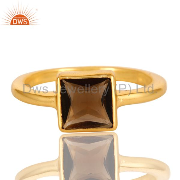 Exporter 14K Gold Plated Sterling Silver Smoky Quartz Princess Cut Stack Ring