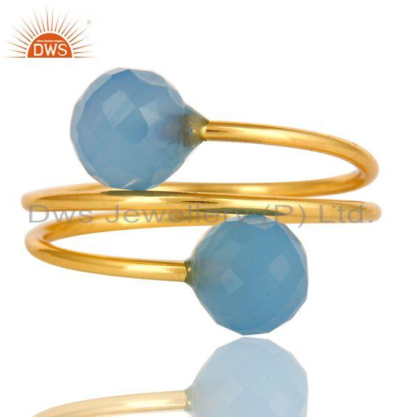 Exporter 14K Yellow Gold Plated Sterling Silver Blue Chalcedony Adjustable Ring