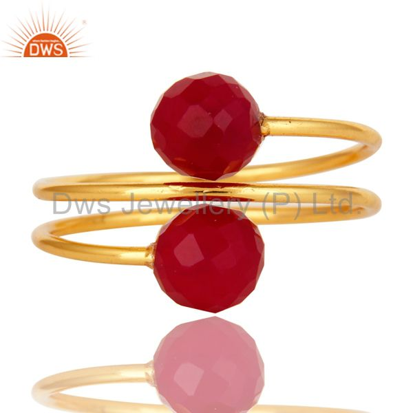 Exporter 14K Yellow Gold Plated Sterling Silver Pink Chalcedony Gemstone Adjustable Ring