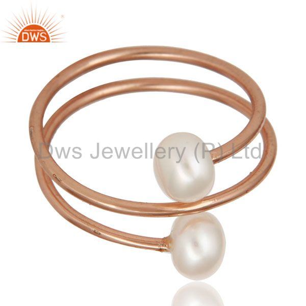 Exporter 18K Rose Gold Plated Sterling Silver Pearl Wire Wrapped Adjustable Ring