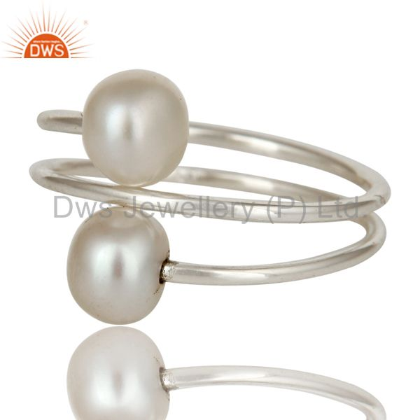 Exporter Wire Designer 925 Sterling Silver Pearl Wrapped Adjustable Ring