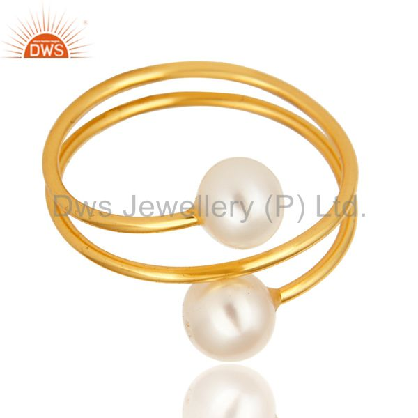 Exporter 14K Yellow Gold Plated Sterling Silver Natural White Pearl Wire Adjustable Ring