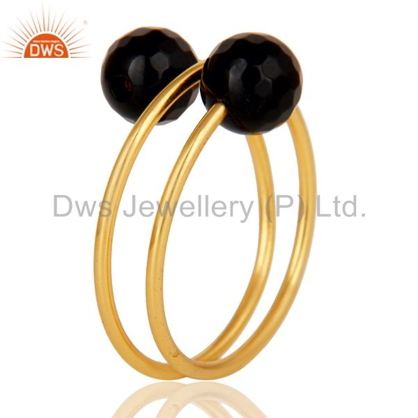 Exporter 14K Yellow Gold Plated Sterling Silver Natural Black Onyx Wire Adjustable Ring